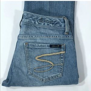 Seven7 Light Wash Mid Rise Flare Jeans Size 28x28